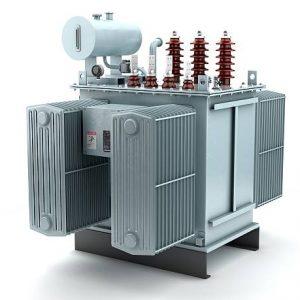 3D illustration of high voltage transformer on white background.